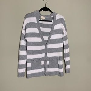 Olive & Oak Grey and White Striped Cardigan